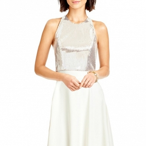 Dessy Sequin Halter Top & Long Crepe Skirt