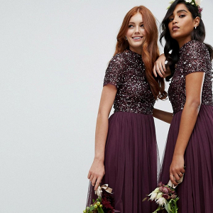 Sequin & Tulle Midi Bridesmaid Dress