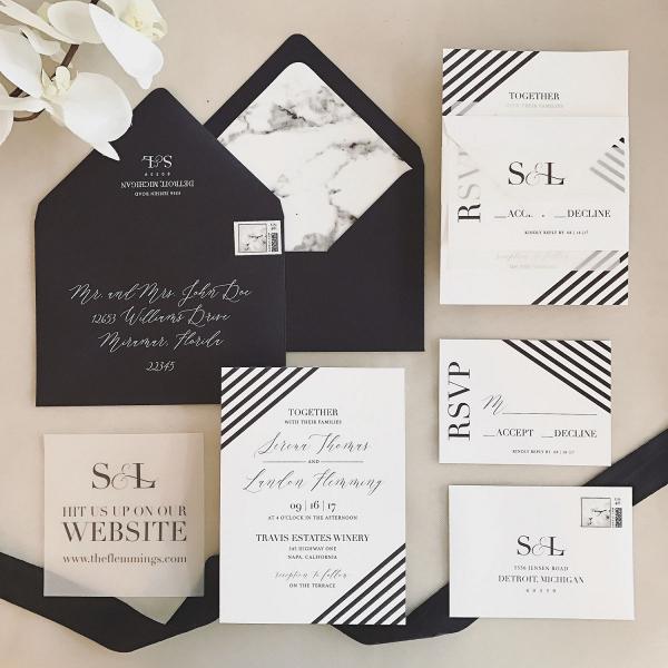 Serena Black & White Modern Wedding Invitation Suite