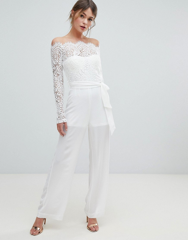 Lace Off Shoulder Bridal Jumpsuit