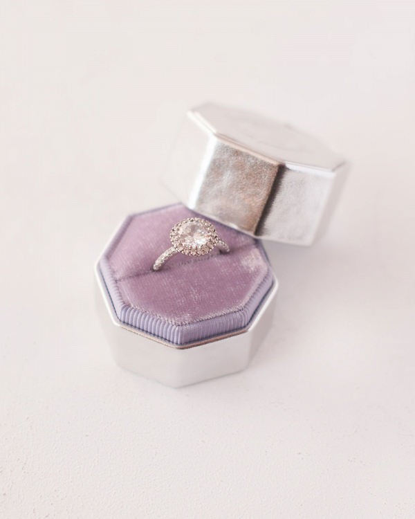 Leather & Lavender Velvet Ring Box