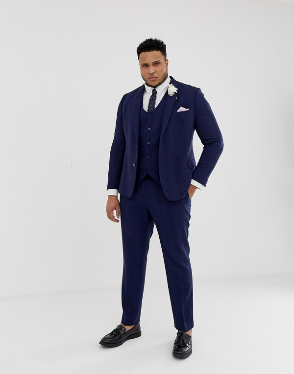 Blue Herringbone Wool 3 Piece Suit