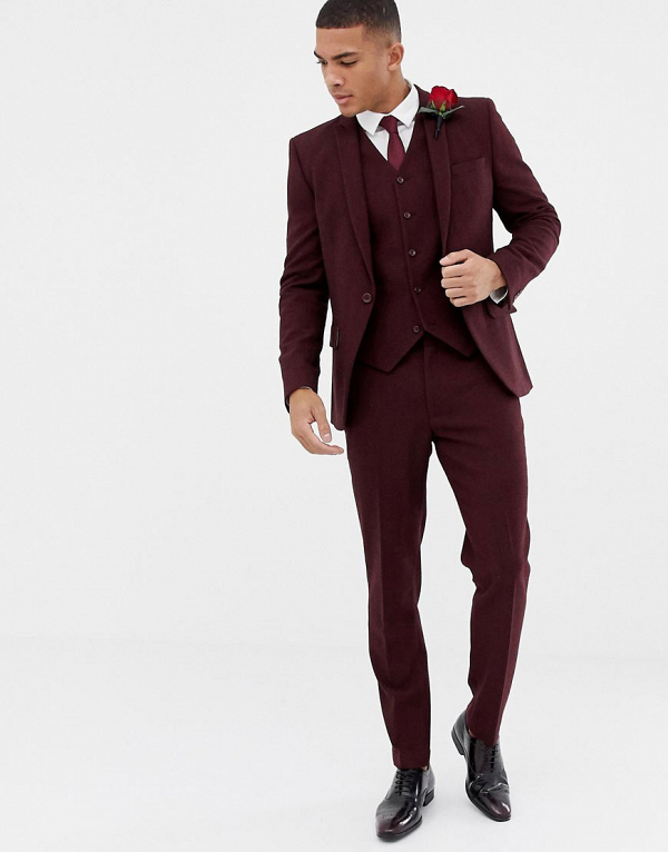 Burgundy Herringbone Suit
