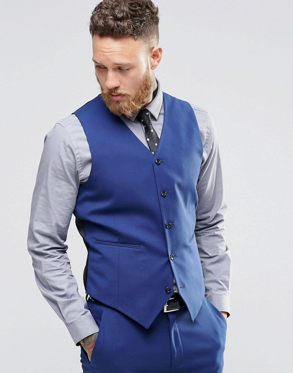 Royal Blue Groom's Suit Waist Coat