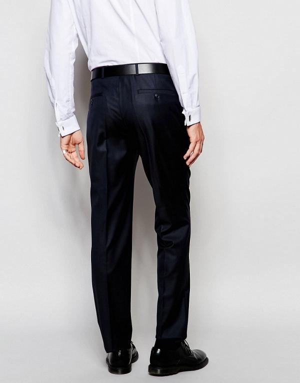 Modern Slim-Cut Navy Suit Pants