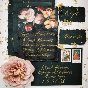 Black Wedding Invitation Suite