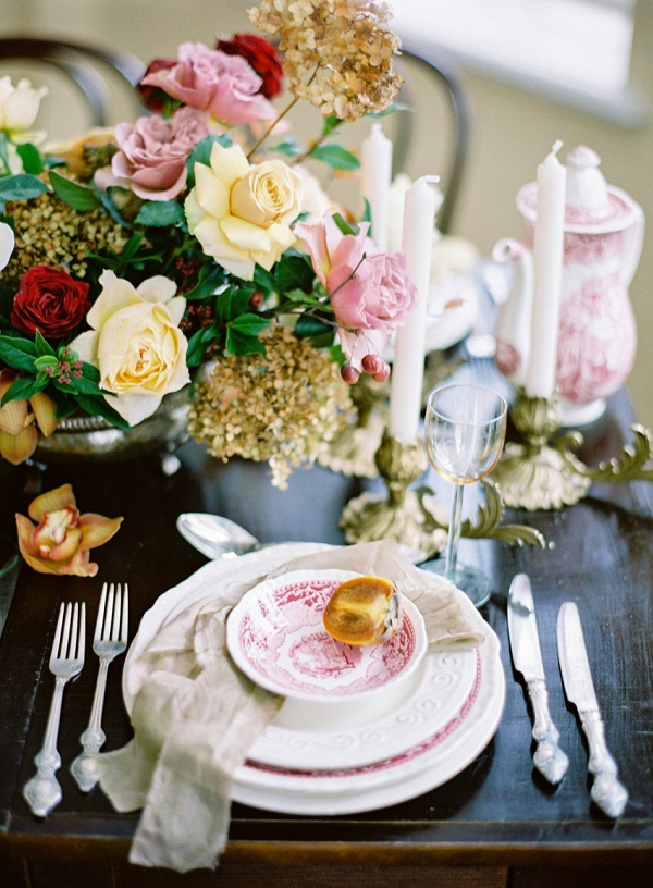 Vintage Floral Wedding Place Setting