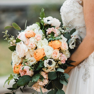 Peach and yellow floral bridal bouquet