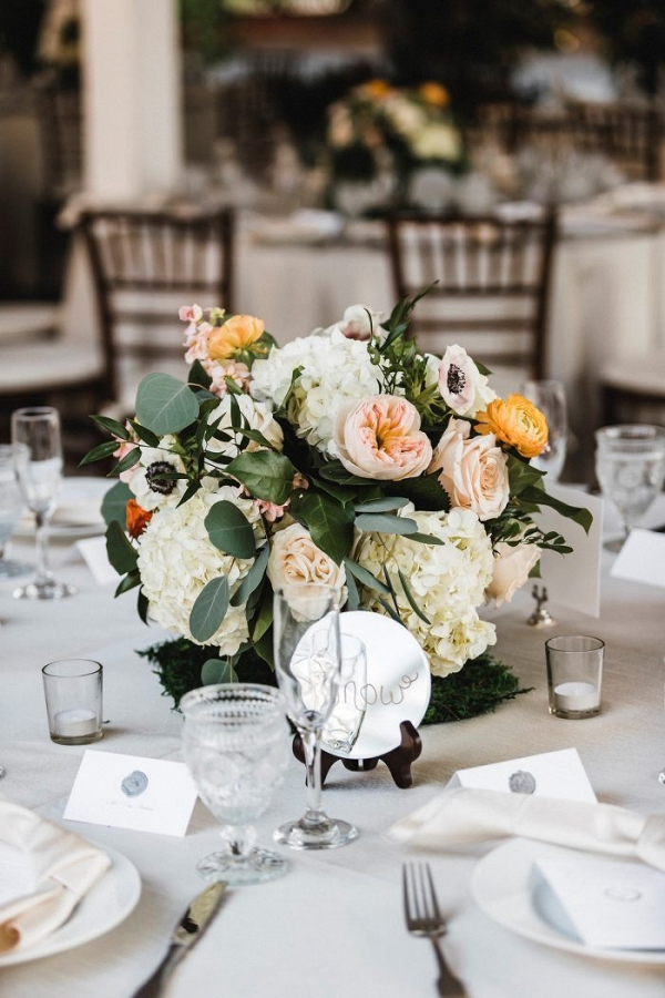 Peach and yellow floral wedding centerpiece