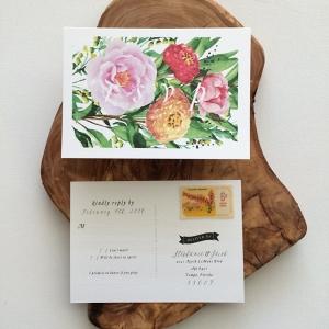 'Stephanie' Floral Watercolour Wedding RSVP