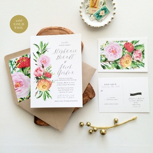 'Stephanie' Floral Watercolor Wedding Stationery Suite