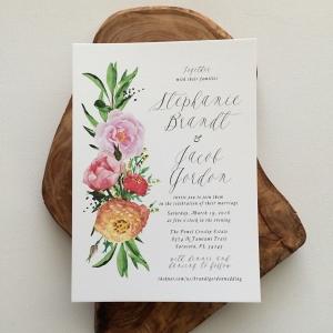 'Stephanie' Floral Watercolor Wedding Invitation
