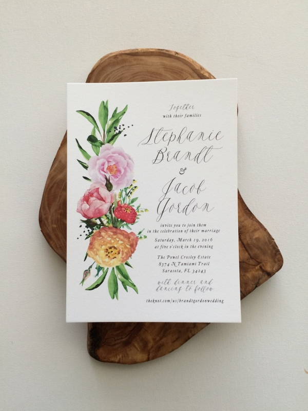 'Stephanie' Floral Watercolor Wedding Invitation
