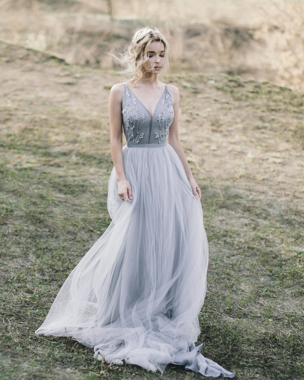 Blue Tulle Bridal Gown