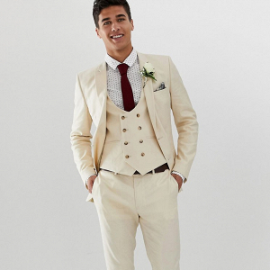 3 Piece Linen Groom's Suit