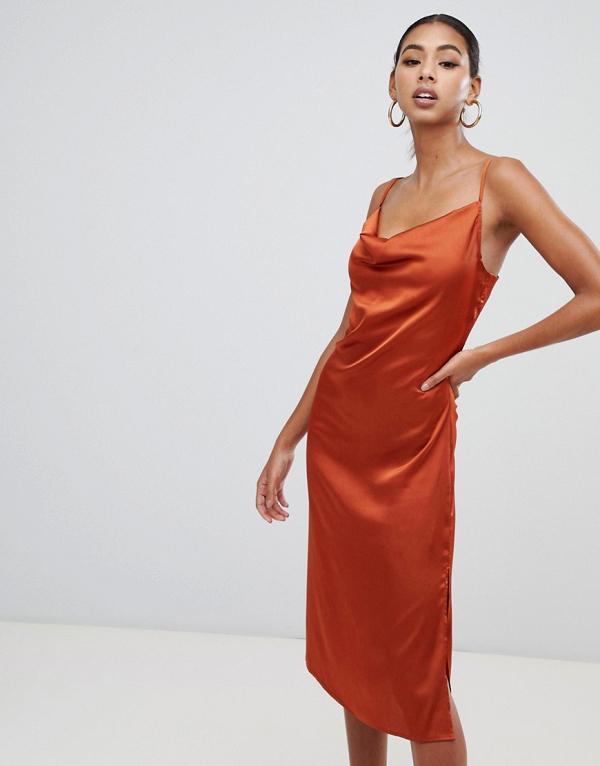Strappy Cowl Midi Satin Dress