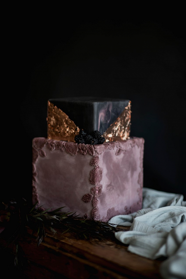 Purple and gold square wedding cake