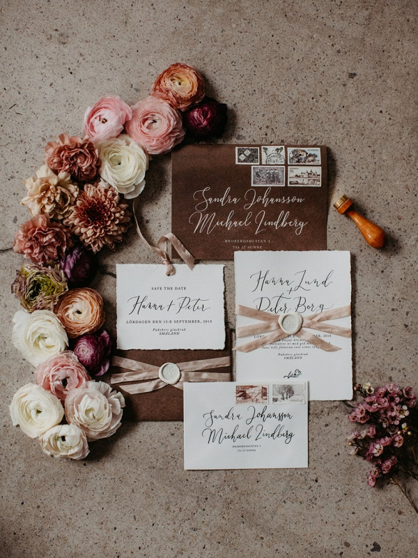 Brown calligraphy wedding invitation
