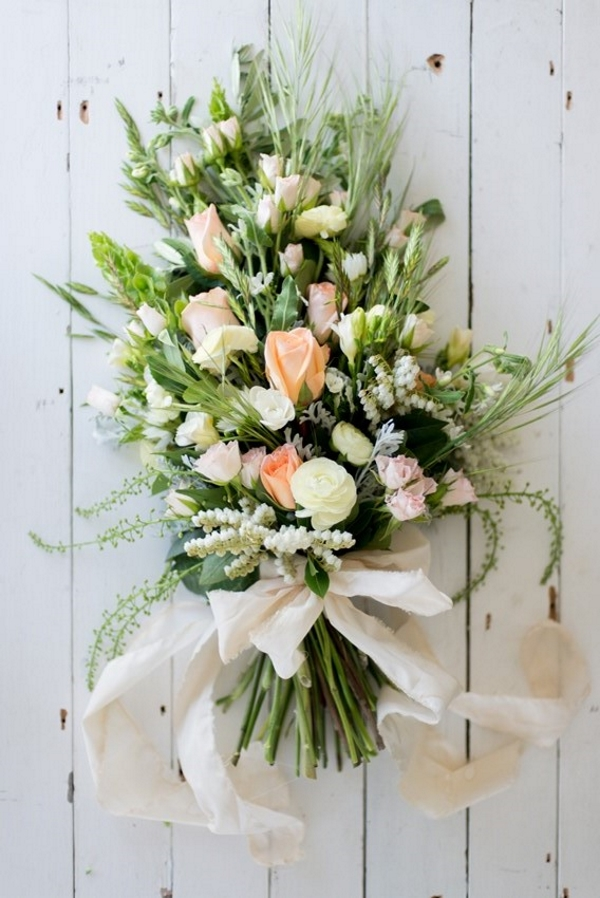 A Stunning Sheath Bridal Bouquet of Country Blooms