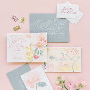 Floral watercolor invitation on Chic Vintage Brides