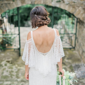 Bride in boho off the shoulder lace wedding dress