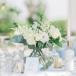 White lisianthus and astilbe wedding centerpiece