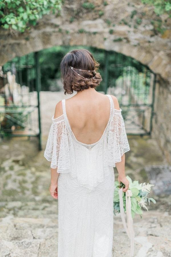 Bride in boho off the shoulder lace wedding dress