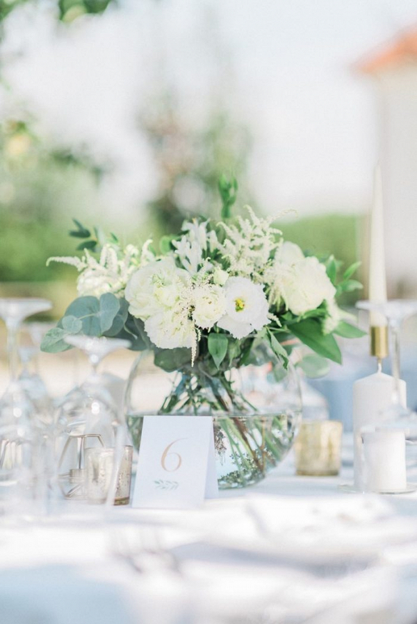 White lisianthus and astilbe wedding centerpiece