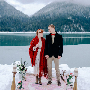 Lakeside snowy vow renewal