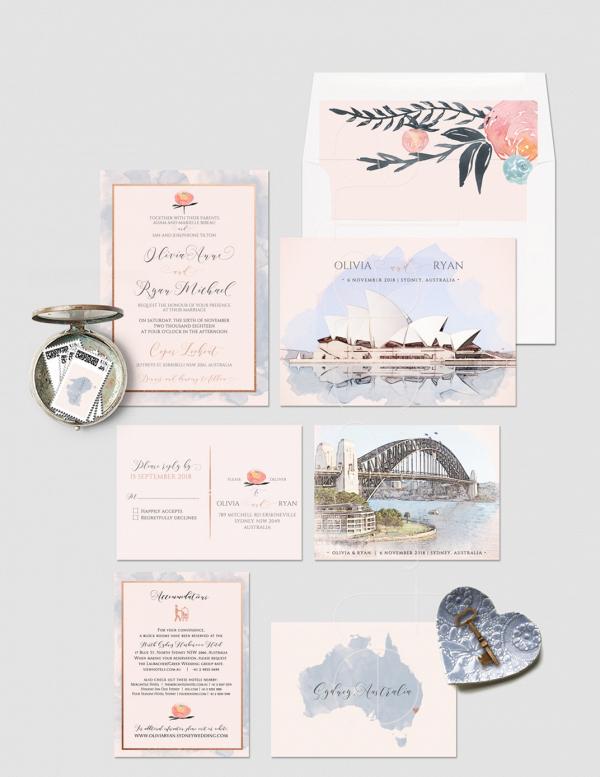 Destination Sydney Australia Wedding Invitations