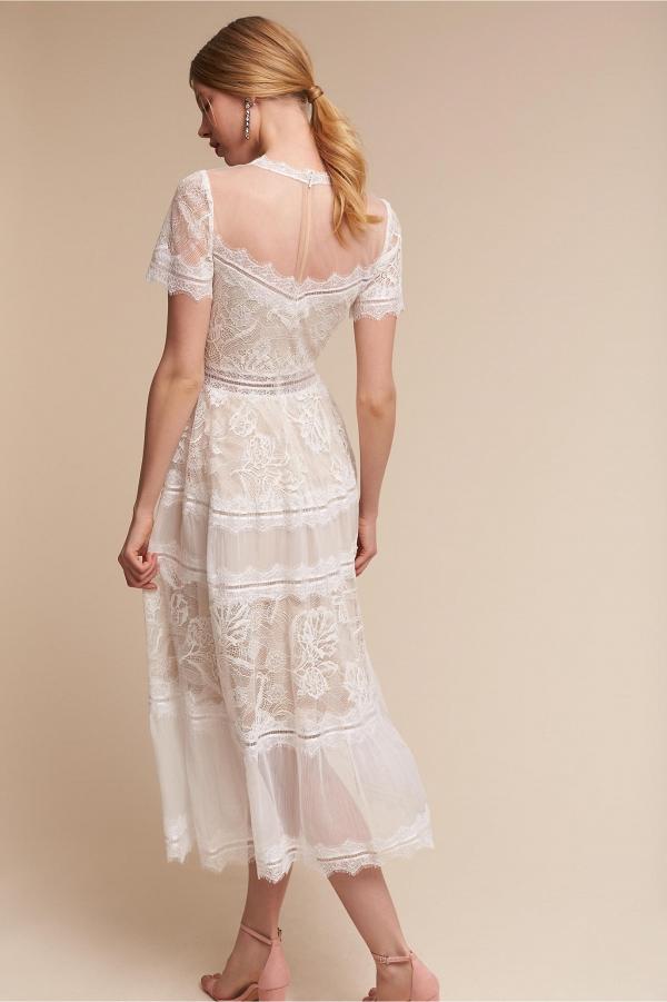 Tea Length Saylor Wedding Dress Back. Tadashi Shoji ...