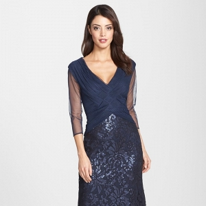 Tadashi Shoji Sequin Lace Full Length Gown