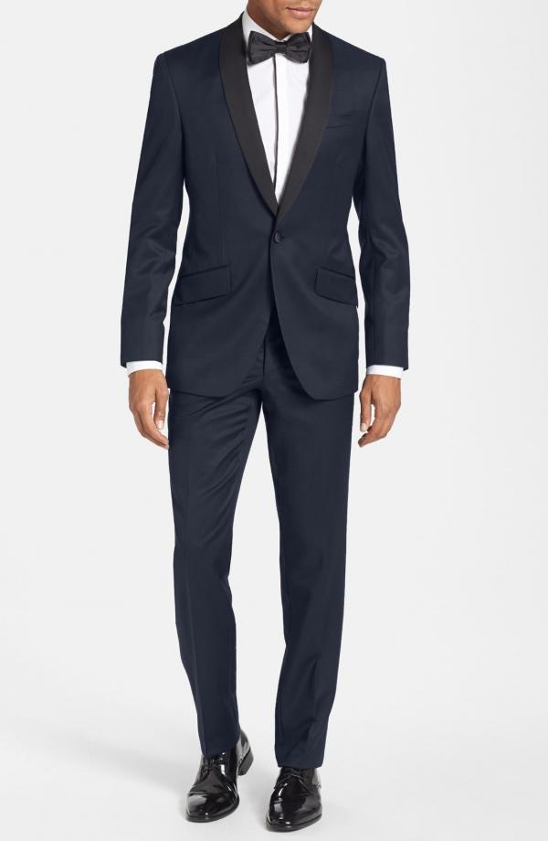 Ted Baker 'Josh' Trim Fit Contrast Lapel Navy Tuxedo
