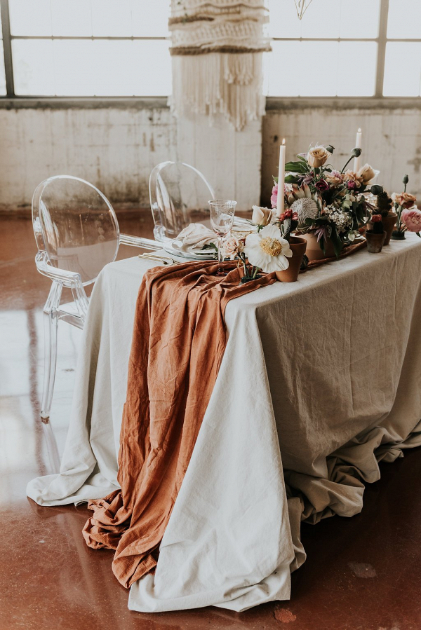 Terracotta Cheesecloth Wedding Table Runner