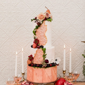 Modern textured rose gold wedding cake