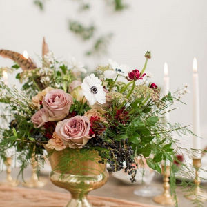 Vintage floral wedding centerpiece