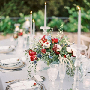Red, white, and blue floral centerpiece
