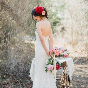 Romantic Lace Wedding Dress and Peony Bridal Hair Adornment