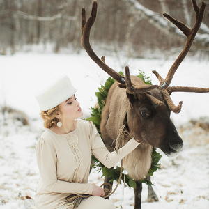 Vintage Winter Bride & Reindeer