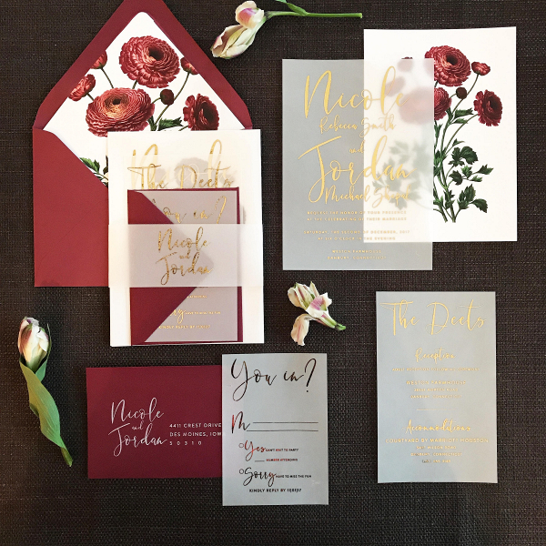 Wine Floral Wedding Invitation