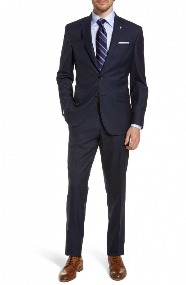 Slim Fit Navy Groom's Suit