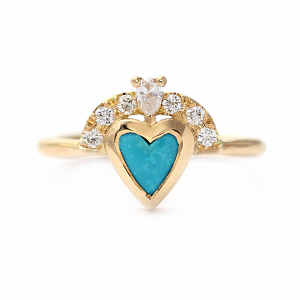 Turquoise Heart Engagement Ring