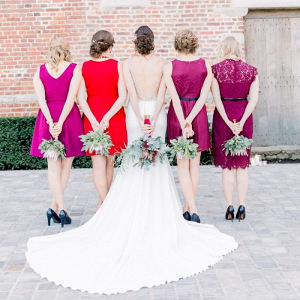 Bridesmaids in magenta and red