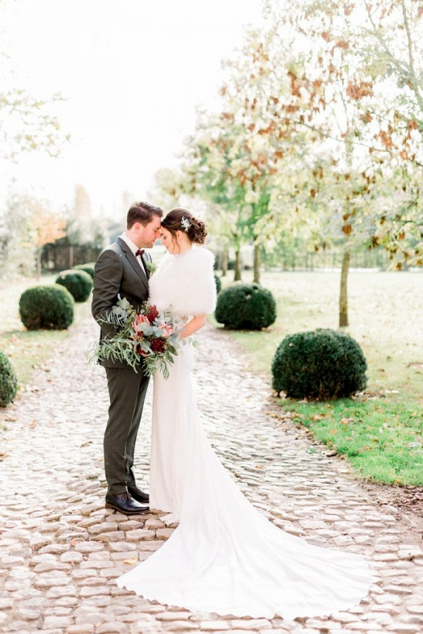 Winter bride and groom portrait