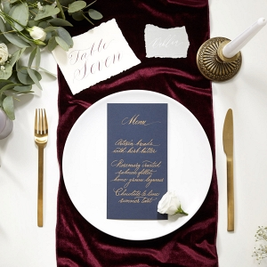 Burgundy Velvet Wedding Table Runner