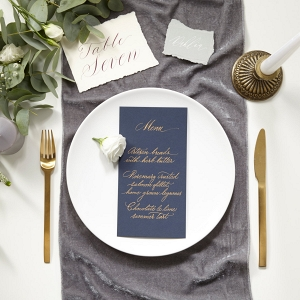 Grey Velvet Wedding Table Runner