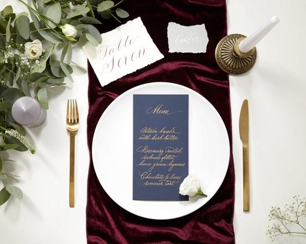 Burgundy Velvet Wedding Table Runner