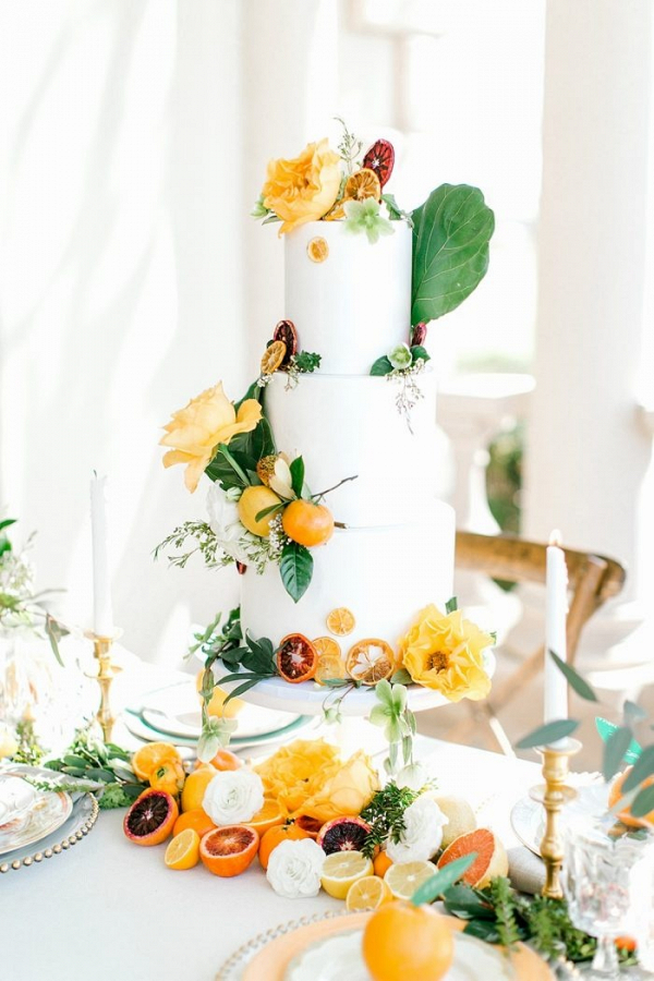 Elegant citrus wedding cake