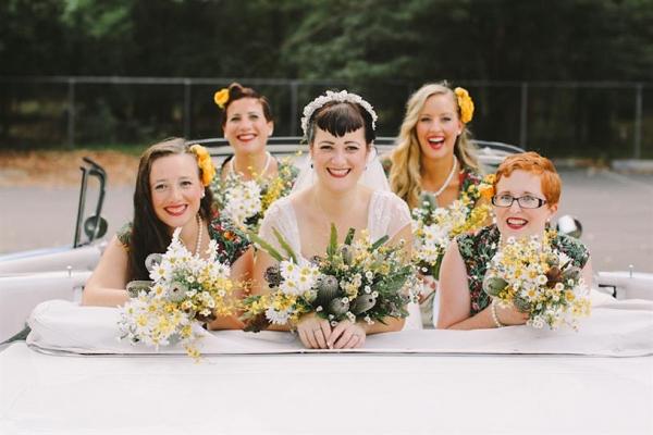1950s Inspired Bride & Bridesmaids