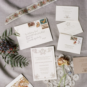 Vintage Letterpress & Calligraphy Wedding Invitation Suite